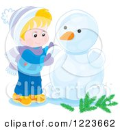 Clipart Of A Blond Boy Making A Snowman With Arms Royalty Free Vector Illustration by Alex Bannykh