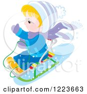 Clipart Of A Blond Boy Sledding In The Snow Royalty Free Vector Illustration