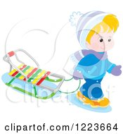 Clipart Of A Blond Boy Pulling A Sled In The Snow Royalty Free Vector Illustration