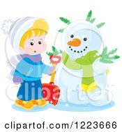 Clipart Of A Blond Boy Holding A Shovel By A Snowman Royalty Free Vector Illustration