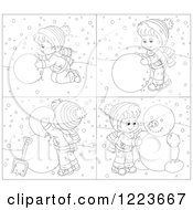 Clipart Of A Black And White Boy Making A Snowman Royalty Free Vector Illustration