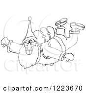 Clipart Of An Outlined Santa Free Falling While Skydiving Royalty Free Vector Illustration by djart