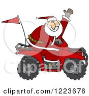 Clipart Of Santa Waving And Driving An Atv Mud Bug Royalty Free Vector Illustration