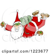 Clipart Of Santa Free Falling While Skydiving Royalty Free Vector Illustration by djart