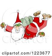 Santa Free Falling While Skydiving