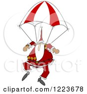 Clipart Of Santa Descending With A Skydiving Parachute Royalty Free Vector Illustration by djart
