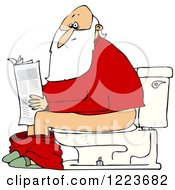 Clipart Of Santa Reading The Newspaper On A Toilet Royalty Free Vector Illustration