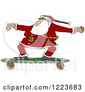 Santa Skateboarding On A Longboard