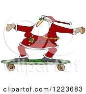 Santa Skateboarding On A Longboard