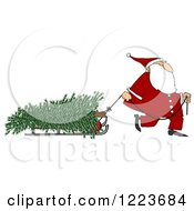Clipart Of Santa Pulling A Fresh Cut Christmas Tre On A Sled Royalty Free Illustration