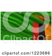 Clipart Of A 3d Waving Flag Of Zambia With Rippled Fabric Royalty Free Illustration