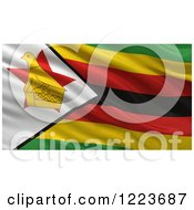 Clipart Of A 3d Waving Flag Of Zimbabwe With Rippled Fabric Royalty Free Illustration