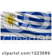 Clipart Of A 3d Waving Flag Of Uruguay With Rippled Fabric Royalty Free Illustration