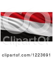 Clipart Of A 3d Waving Flag Of Yemen With Rippled Fabric Royalty Free Illustration
