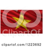 Clipart Of A 3d Waving Flag Of Vietnam With Rippled Fabric Royalty Free Illustration