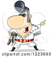 Clipart Of A Rock N Roll Elvis Impersonator Singer Royalty Free Vector Illustration by Holger Bogen