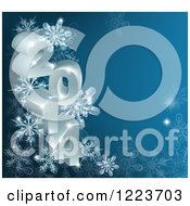Clipart Of A 3d Year 2014 With Snowflakes On Blue Royalty Free Vector Illustration