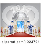 Clipart Of A New Year 2014 Venue Entrance With A VIP Red Carpet And Welcoming Friendly Doormen 2 Royalty Free Vector Illustration by AtStockIllustration