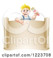 Happy Blond Male House Painter Holding A Brush And Pointing Over A Scroll Sign