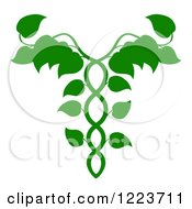Clipart Of A Leafy Green Medical Dna Caduceus Plant Royalty Free Vector Illustration by AtStockIllustration