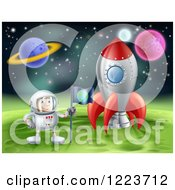 Clipart Of An Astronaut Planting An Earth Flag On A Foreign Planet In Outer Space Royalty Free Vector Illustration by AtStockIllustration