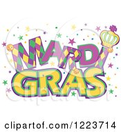 Clipart Of Mardi Gras Text With Stars Royalty Free Vector Illustration