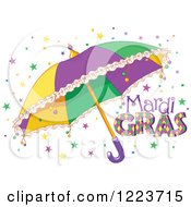 Clipart Of Mardi Gras Text With Stars And An Umbrella Royalty Free Vector Illustration