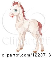 Clipart Of A Cute White Baby Horse With Blue Eyes Royalty Free Vector Illustration