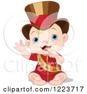Clipart Of A Waving Baby Wearing A Top Hat And Happy New Year Sash Royalty Free Vector Illustration