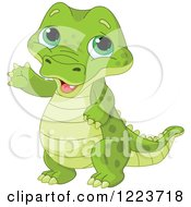 Clipart Of A Cute Baby Alligator Waving Royalty Free Vector Illustration