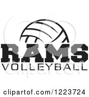 Clipart Of A Black And White Ball With RAMS VOLLEYBALL Text Royalty Free Vector Illustration