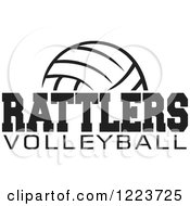 Clipart Of A Black And White Ball With RATTLERS VOLLEYBALL Text Royalty Free Vector Illustration by Johnny Sajem