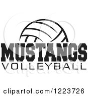 Clipart Of A Black And White Ball With MUSTANGS VOLLEYBALL Text Royalty Free Vector Illustration by Johnny Sajem