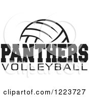 Clipart Of A Black And White Ball With PANTHERS VOLLEYBALL Text Royalty Free Vector Illustration by Johnny Sajem