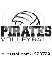 Clipart Of A Black And White Ball With PIRATES VOLLEYBALL Text Royalty Free Vector Illustration by Johnny Sajem