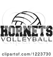 Clipart Of A Black And White Ball With HORNETS VOLLEYBALL Text Royalty Free Vector Illustration by Johnny Sajem