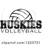 Clipart Of A Black And White Ball With HUSKIES VOLLEYBALL Text Royalty Free Vector Illustration by Johnny Sajem