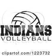 Clipart Of A Black And White Ball With INDIANS VOLLEYBALL Text Royalty Free Vector Illustration by Johnny Sajem