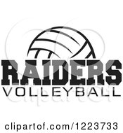 Clipart Of A Black And White Ball With RAIDERS VOLLEYBALL Text Royalty Free Vector Illustration by Johnny Sajem