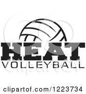 Clipart Of A Black And White Ball With HEAT VOLLEYBALL Text Royalty Free Vector Illustration