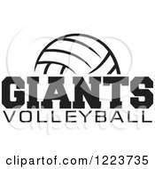 Clipart Of A Black And White Ball With GIANTS VOLLEYBALL Text Royalty Free Vector Illustration by Johnny Sajem