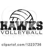 Clipart Of A Black And White Ball With HAWKS VOLLEYBALL Text Royalty Free Vector Illustration by Johnny Sajem
