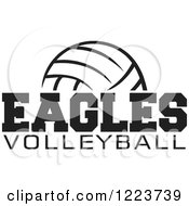 Clipart Of A Black And White Ball With EAGLES VOLLEYBALL Text Royalty Free Vector Illustration by Johnny Sajem #COLLC1223739-0090