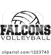 Clipart Of A Black And White Ball With FALCONS VOLLEYBALL Text Royalty Free Vector Illustration