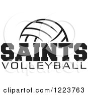 Clipart Of A Black And White Ball With SAINTS VOLLEYBALL Text Royalty Free Vector Illustration