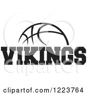 Clipart Of A Black And White Basketball With VIKINGS Text Royalty Free Vector Illustration by Johnny Sajem