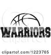 Clipart Of A Black And White Basketball With WARRIORS Text Royalty Free Vector Illustration by Johnny Sajem