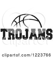 Clipart Of A Black And White Basketball With TROJANS Text Royalty Free Vector Illustration by Johnny Sajem