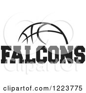 Clipart Of A Black And White Basketball With FALCONS Text Royalty Free Vector Illustration