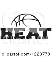 Clipart Of A Black And White Basketball With HEAT Text Royalty Free Vector Illustration
